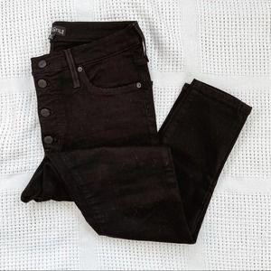 J. CREW | Black Button Fly Skinny Jeans Sz 10 / 30